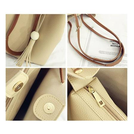 4pcs Women PU Leather Handbag Shoulder Bag Tote Purse Messenger Satchel Clutch - image 5 de 7