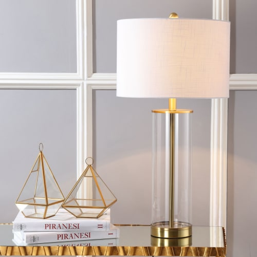 "Collins 29.25"" Glass LED Table Lamp, Brass Gold"