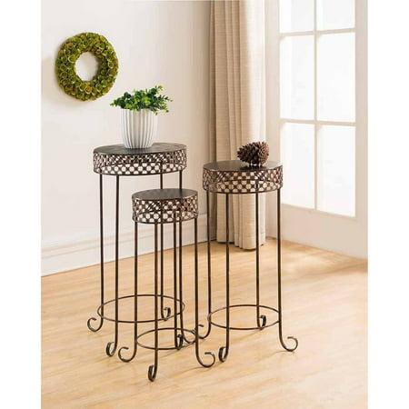 K&B Furniture Brushed Copper Metal 3 Piece End Table Set