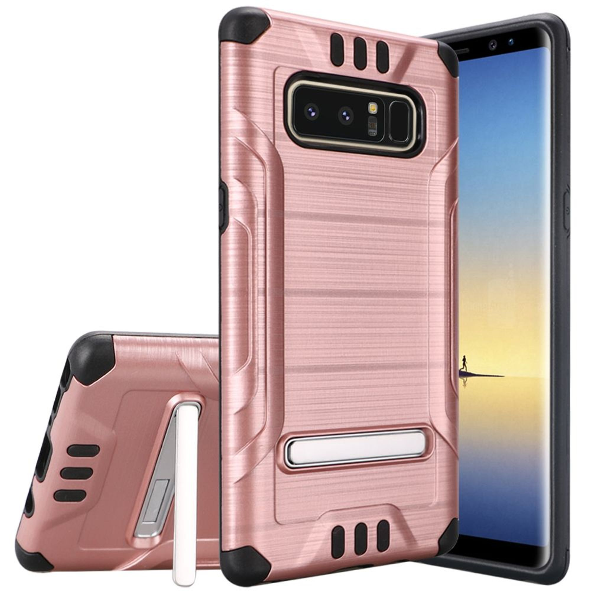 HR Wireless Shockproof Dual Layer Hybrid Stand Brushed Hard Plastic/Soft TPU Rubber Case Cover For Samsung Galaxy Note 8, Rose Gold/Black