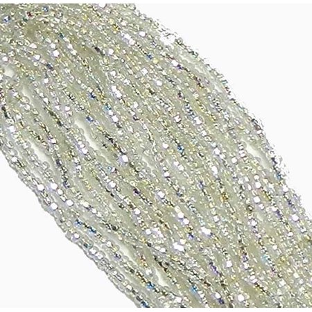 Crystal Ab Czech 8/0 Glass Seed, Loose Beads, 12 Strand Hank Preciosa - Bead Strands