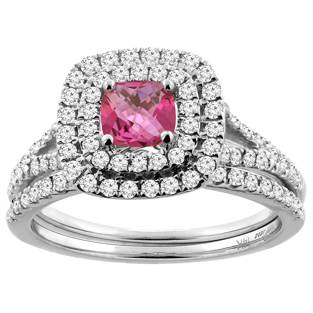14K White Gold Diamond Halo Natural Pink Topaz 2pc Engagement Ring Set Cushion 6x6 mm, size 5 by Gabriella Gold