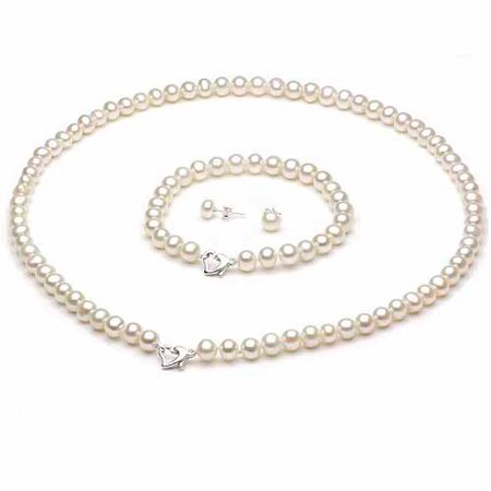 ADDURN 7-8mm White Freshwater Pearl Heart-Shape Sterling Silver Necklace (18