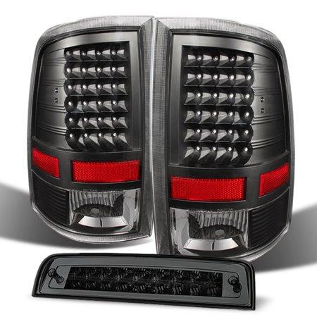 Fits 09-18 Ram 1500 10-18 2500/3500 Black Tail lights+ LED 3rd Brake Cargo Light