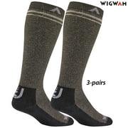 Wigwam Merino Wilderness Mid-Weight OTC Socks (9-12) Taupe/Heather Brown 3-PAIR