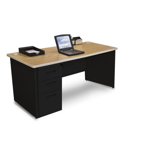 - Pronto PDR6630SP-B-BK-OKPU 66W x 30 D Single Full Pedestal Desk, Oak Laminate & Black Finish