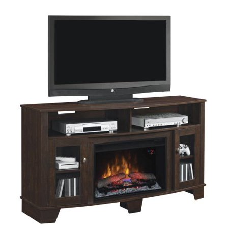 La Salle TV Stand w/ 25″ Curved IR Quartz Fireplace, Midnight Cherry