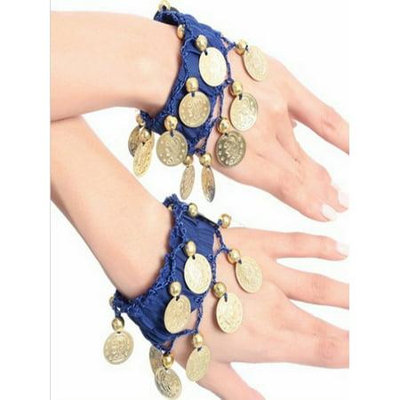 BellyLady Belly Dance Wrist Ankle Cuffs Bracelets, Halloween Costume Accessory-Navy Blue