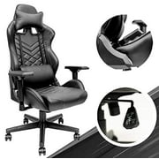 Black Ergonomic Office Chair - Adjustable Desk Chair with PU Leather, Computer Chair with Lumbar Support & 180° Recline, Easy to Assemble & Comfortable Gaming Chair, Supports up t