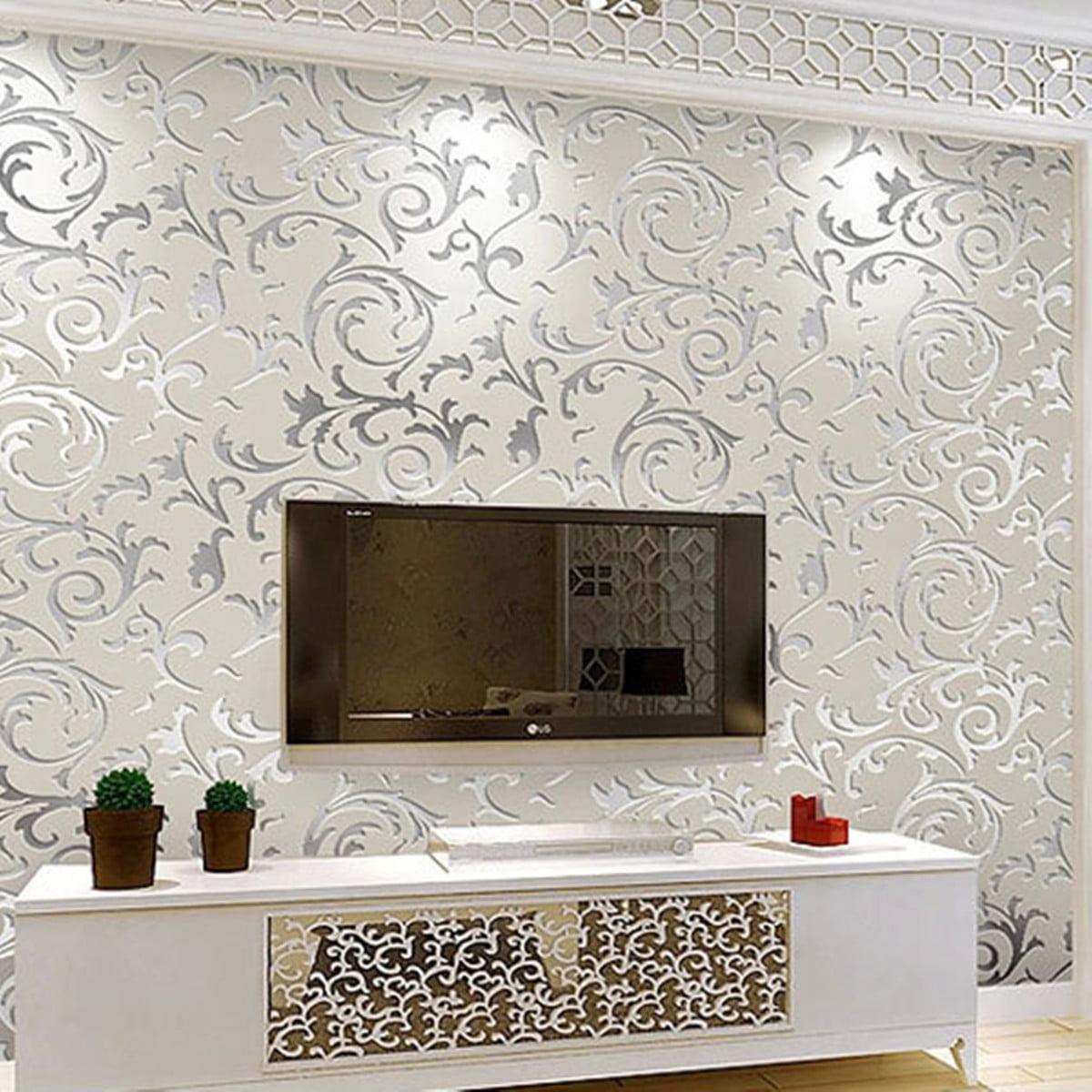 Non Woven 3d Rolls 10m Wallpaper Living Room Bedroom Home Wall Decor Wall Sticker Silver Walmart Canada
