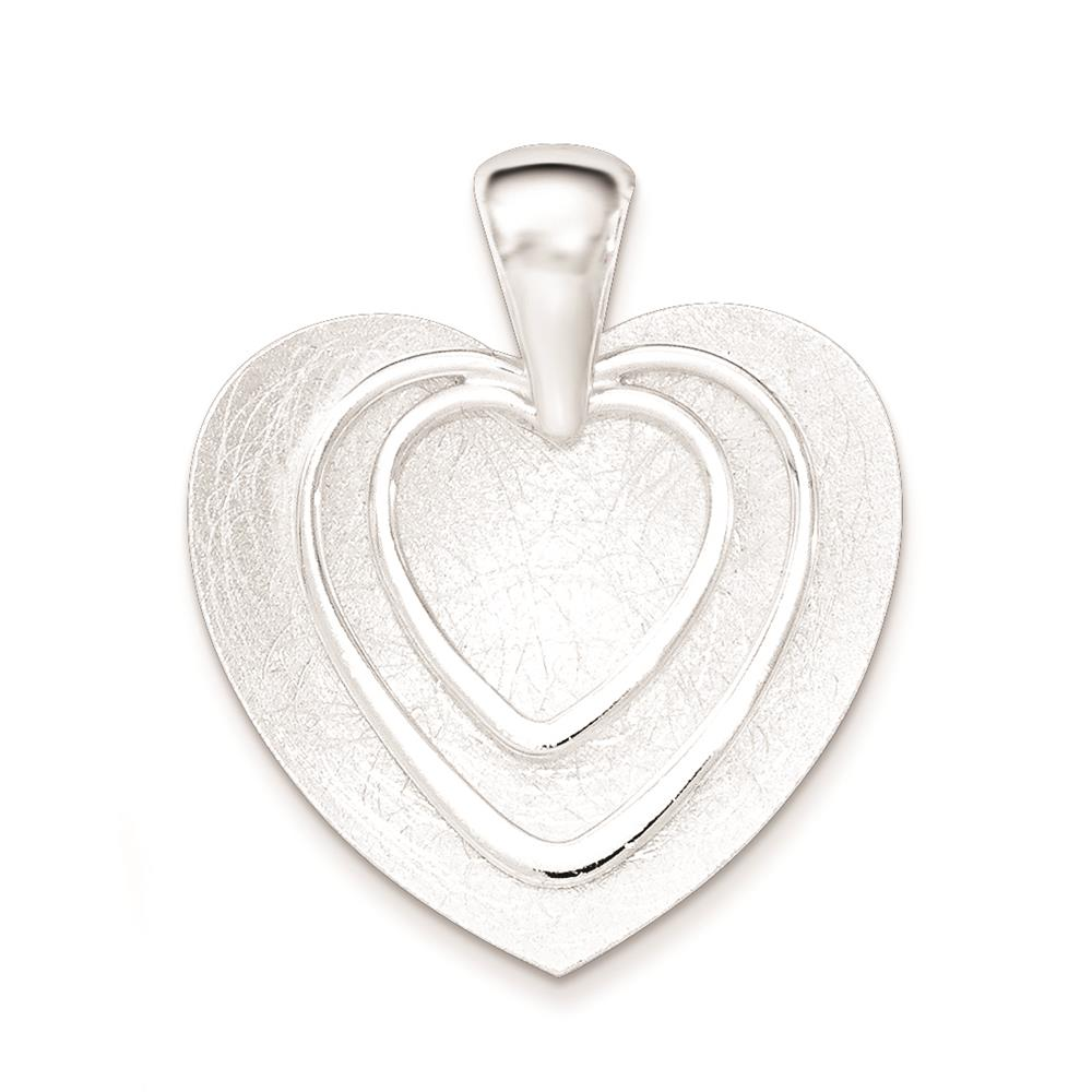 925 Sterling Silver Polished & Textured Heart Charm Pendant