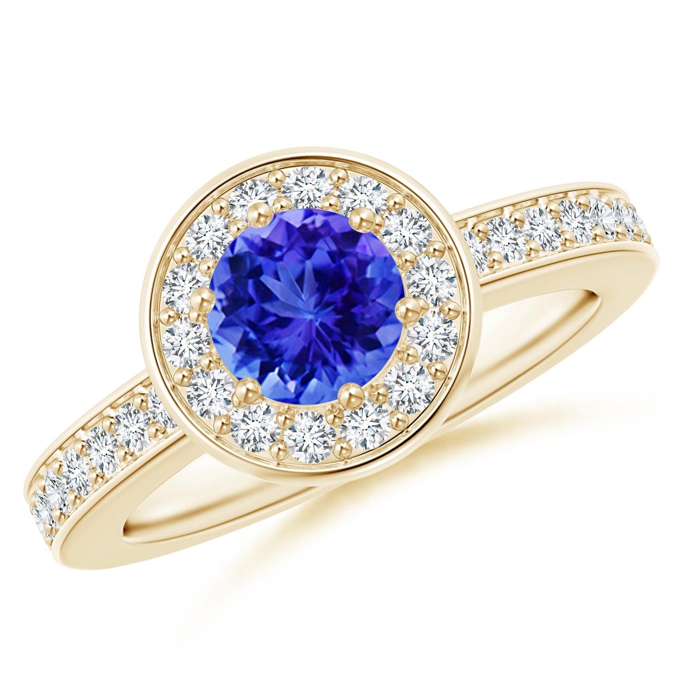 December 12 Tanzanite: Tanzanite Halo Ring With