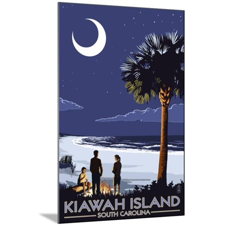 Palmetto Moon - Kiawah Island, South Carolina Wood Mounted Print Wall Art By Lantern Press