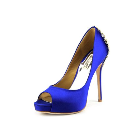 Badgley Mischka Kiara Women Open Toe Canvas Blue Platform Heel