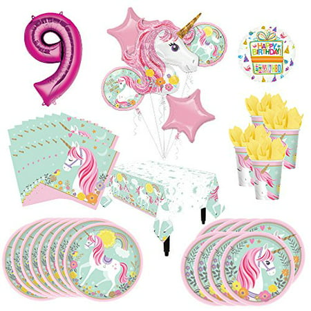 Mayflower Products Magical Unicorn Party Supplies 8 Guests 9th Birthday Balloon Bouquet Decorations - Unicorn Birthday Party