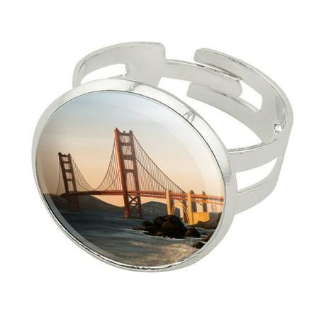 Golden Gate Bridge San Francisco Silver Plated Adjustable Novelty Ring San Francisco 49ers Oval Ring