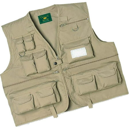 Crystal River CR/FV1-XL C/R Utility Fishing Fly Poly-Cotton Vest Tan X-Large
