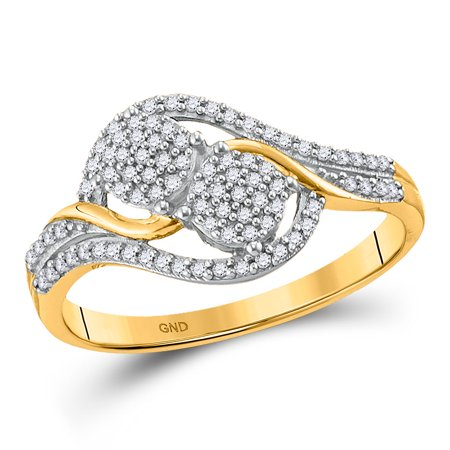 10kt Yellow Gold Womens Round Diamond Double Circle Cluster Ring 1/5 Cttw Diamond Double Circle Ring