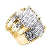 White Natural Diamond Engagement   Wedding Trio Bridal Ring Set In 10k Yellow Gold (0.3 Cttw)