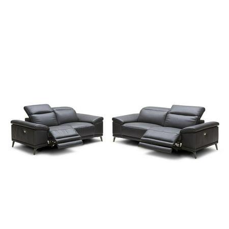 J&M Giovani Modern Premium Black Italian Leather Electric Recliner Sofa Set  2Pcs