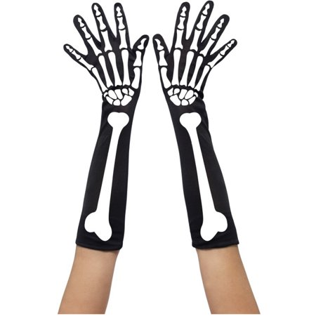 Womens  Black Skeleton Bone Long Elbow Length Gloves Costume Accessory