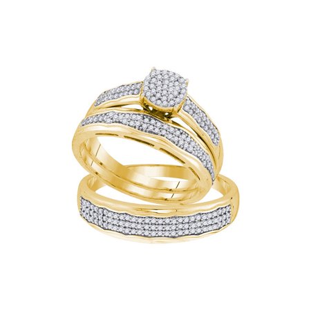 10K Yellow Gold 0 50Ctw Shiny Diamond Center Round Micro Pave Trio Set Ring