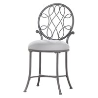 Hillsdale Furniture O'Malley Vanity Stool in Gray Metal with Gray Upholstery