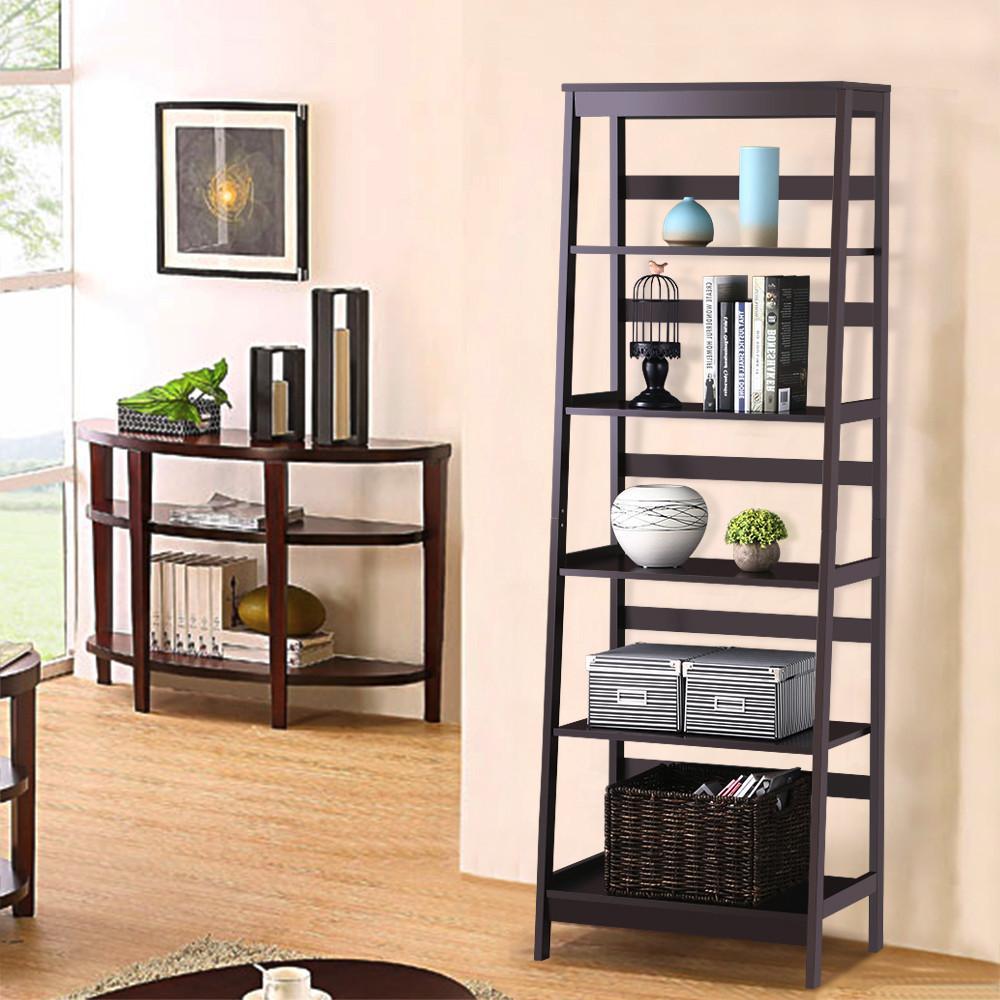 Yaheetech 5 Tier Wood Leaning Ladder Shelf Bookcase/Bookshelf in Espresso Finish