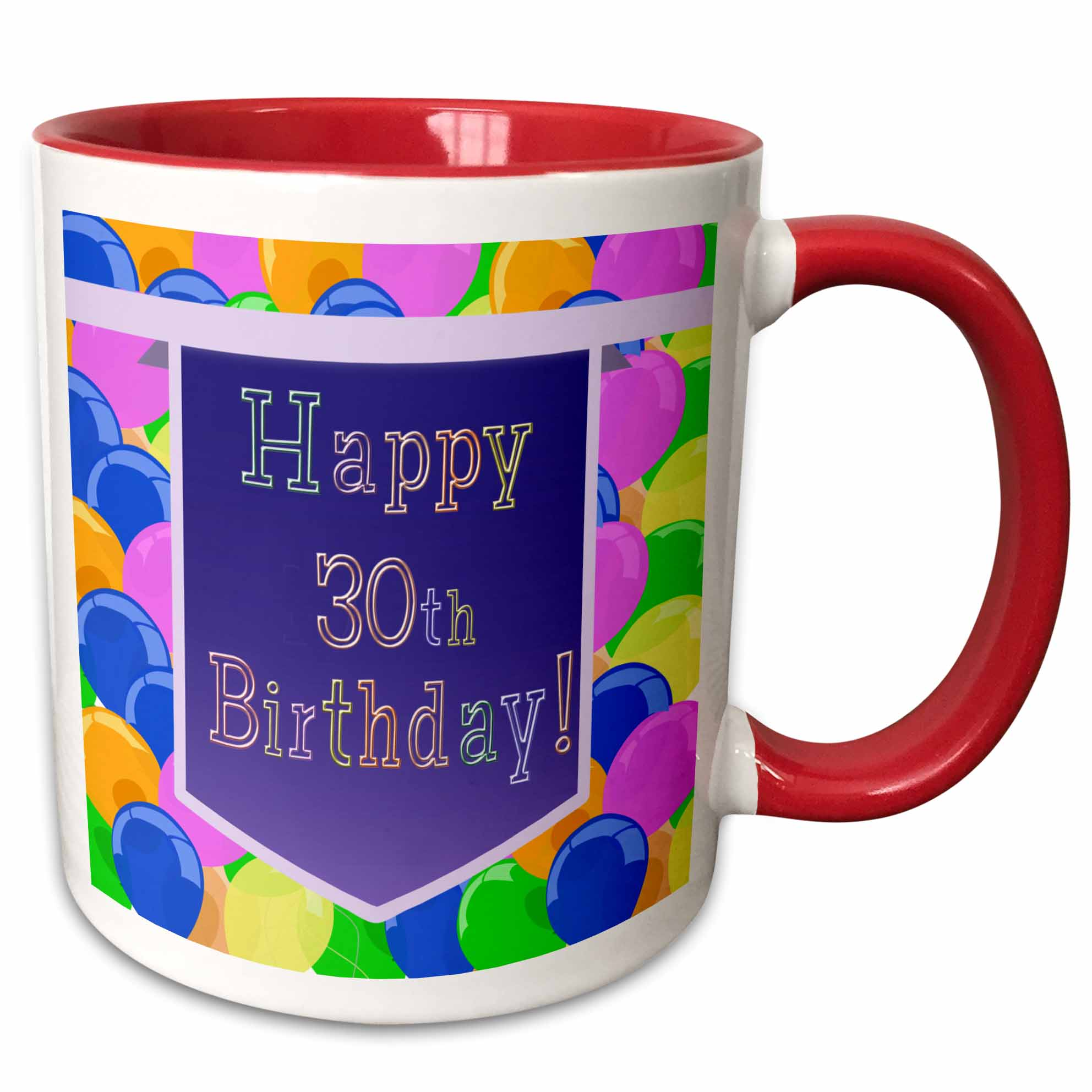 3dRose Balloons with Purple Banner Happy 30th Birthday - Two Tone Red Mug, 11-ounce