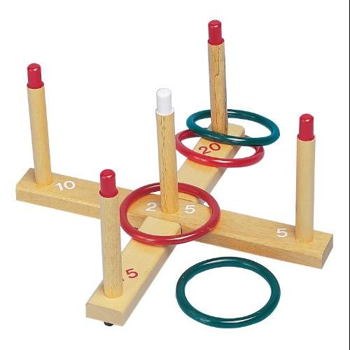 CHAMPION SPORT QS1 Ring Toss Set, Plastic/wood, Assorted Colors, 4 Rings/5 Pegs/set