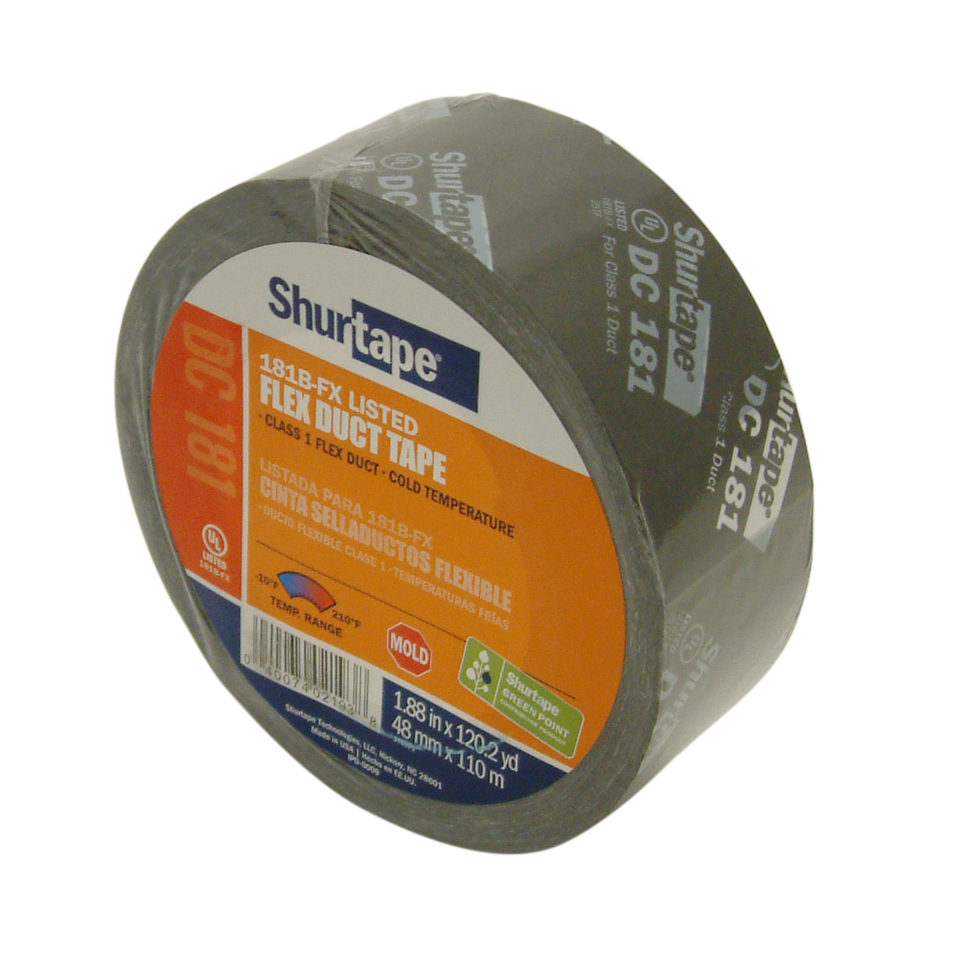 Shurtape DC-181 UL 181B-FX Listed Film Tape: 2 in. x 120 yds. (Black with White printing)