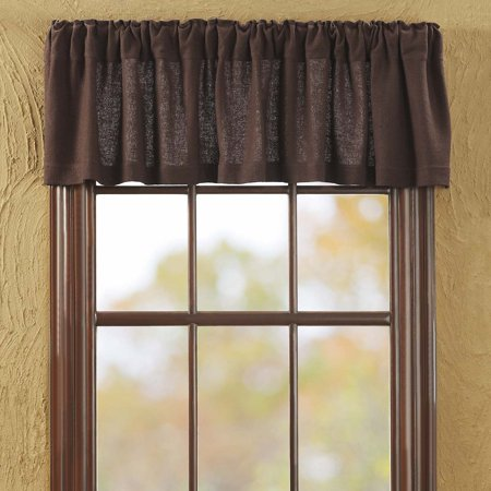 Chocolate Brown Rustic & Lodge Kitchen Curtains Burlap Chocolate Rod Pocket Cotton Cotton Burlap Solid Color 16x72 Valance