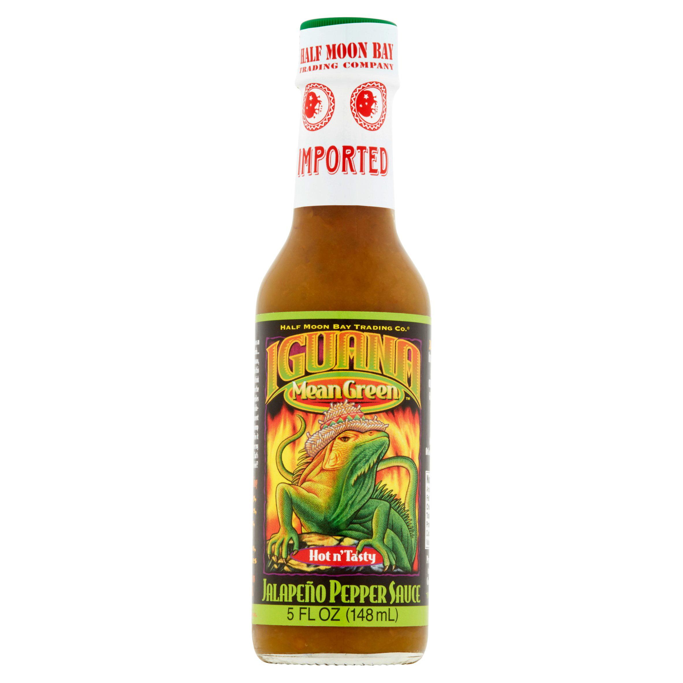 Iguana Mean Green Hot n' Tasty Jalapeño Pepper Sauce, 5 fl oz, 6 pack by Half Moon Bay Trading Company