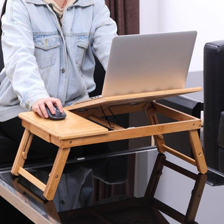 Bamboo Desk (Ktaxon Bamboo Folding Laptop Table Lap Desk Bed Portable Computer Tray Stand Holder Wood Read )