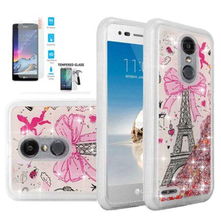 For Tracfone LG Premier Pro Case ; Xpression Plus Case ; LG Phoenix Plus Case ; Harmony 2 Case; LG K30 Tempered Glass Screen Liquid Quicksand Cover (Liquid Quicksand Paris Tower/Tempered Glass)