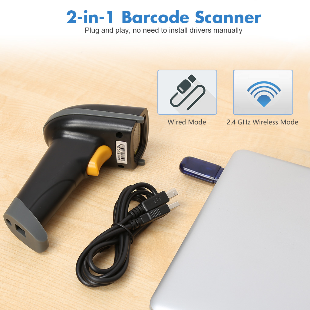 2 4GHz Wireless Barcode Scanner USB Automatic Barcode Reader Handheld Bar  Code Reader USB Rechargeable Bar Code Hand Scanner for Computer POS Laptop