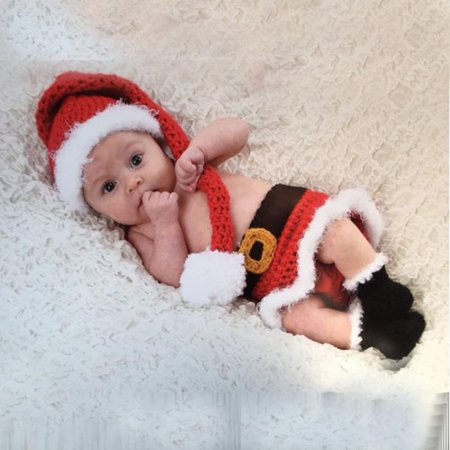 Christmas Girl Photo (Baby Girls Boys Crochet Knit Christmas Costume Photo Photography Prop Outfits)
