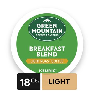 Green Mountain Coffee Roasters Breakfast Blend Single-Serve Keurig K-Cup Pods, Light Roast Coffee, 18 Count