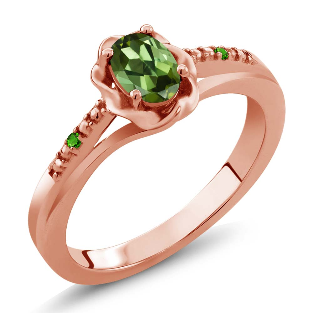 0.51 Ct Oval Green Tourmaline and Green Simulated Tsavorite 18K Rose Gold Ring by