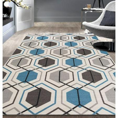 - World Rug Gallery Contemporary Blue Geometric Stripe Non-slip (Non-skid) Area Rug or Runner
