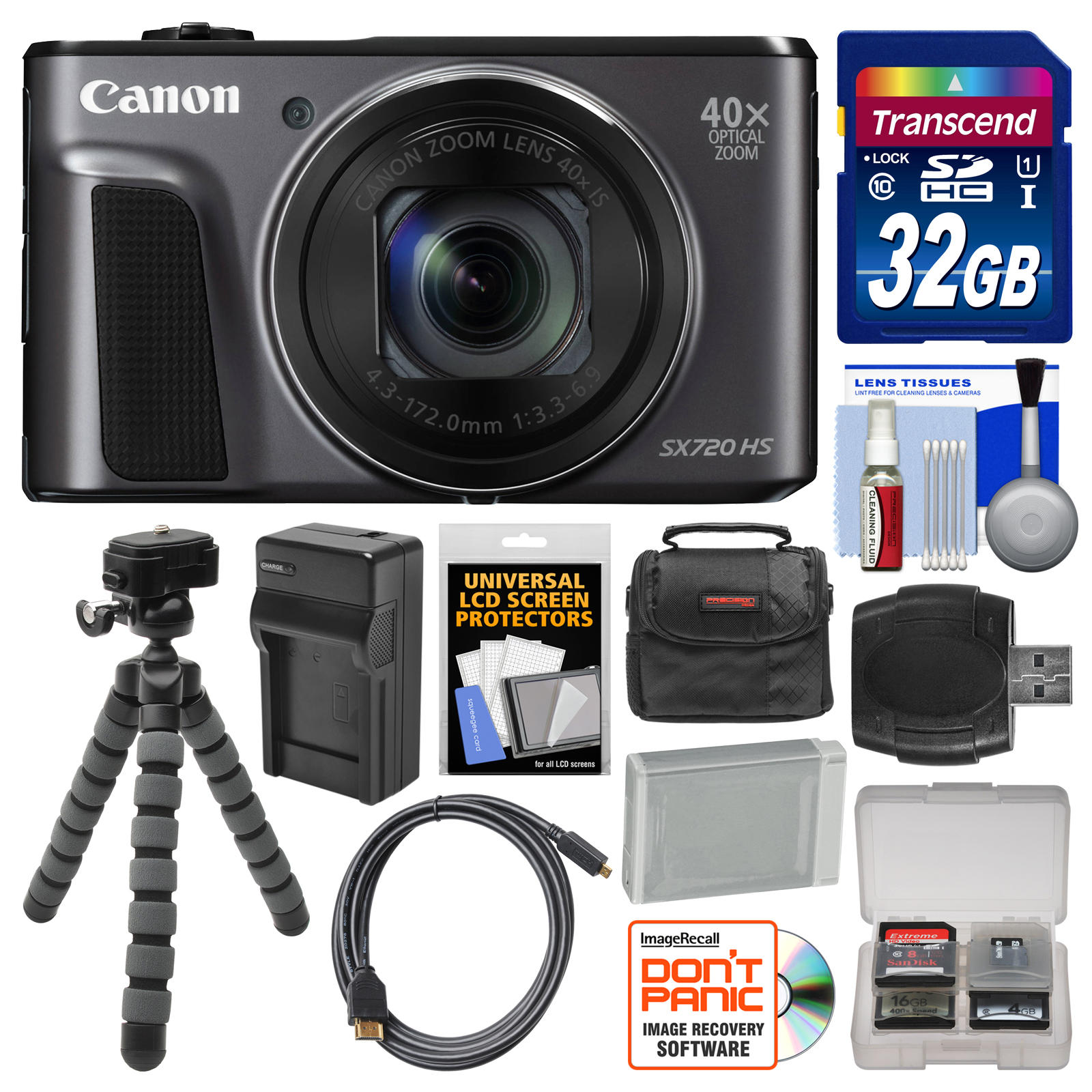 Canon PowerShot SX720 HS Wi-Fi Digital Camera with 32GB C...
