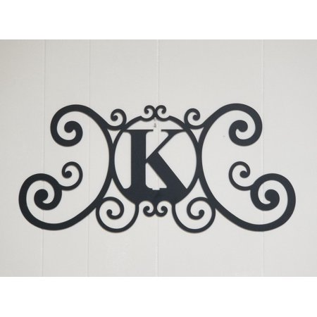 Wrought Iron Monogram (Wrought Iron Metal Scrolled Monogram Personalized Initial Letter K Wall Decoration Plaque)