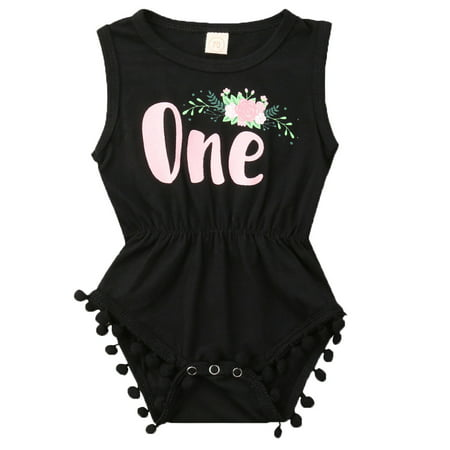 Baby Girls Sleeveless Floral Wild One 1st Birthday Tassel Ball Romper Outfits](Baby Girl First Birthday Outfits)