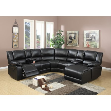 Bonded Leather 5 Pieces Reclining Sectional In Black ()