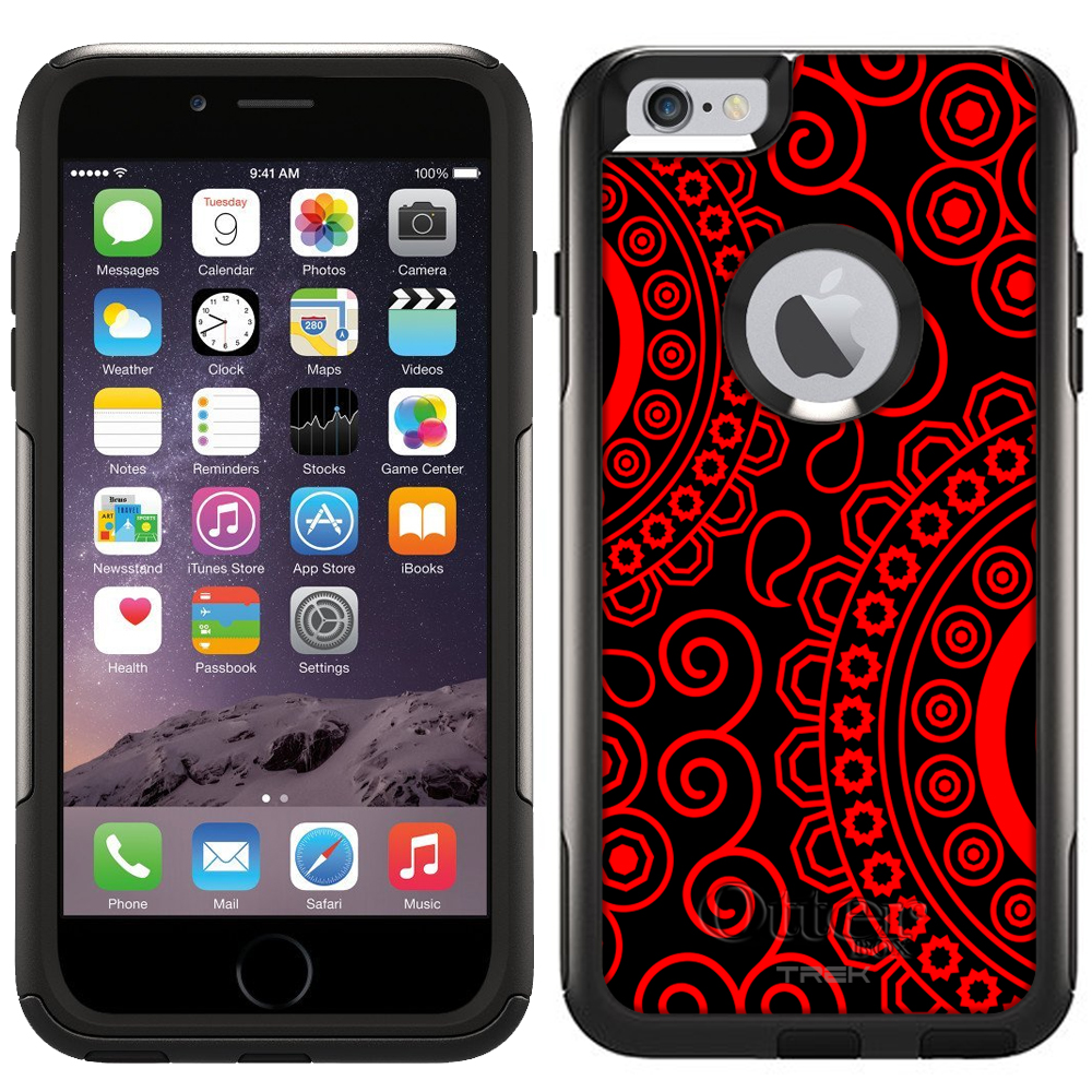 Otterbox Commuter Case for Apple iPhone 6 Plus - Paisley Circles Red on Black