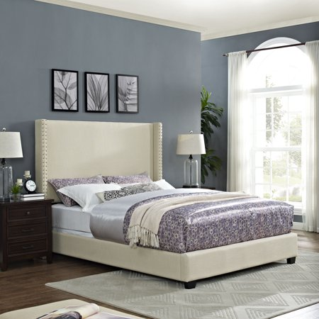 Queen Casey Wingback Upholstered Bedset Creme - Crosley