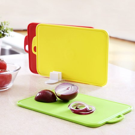 zanmini Color Cutting Boards for Kitchen, Dishwasher-Safe Chopping Board with Non-Slip Feet and Handing Hole Stand, BPA-Free, FDA Approved, Eco Friendly Set of 3