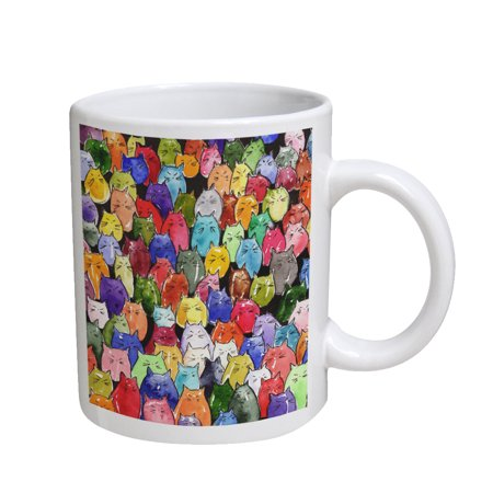 KuzmarK Coffee Cup Mug 11 Ounce -  Jelly Bean Kitties Abstract Cat Art by Denise Every](Jello Halloween Cups)