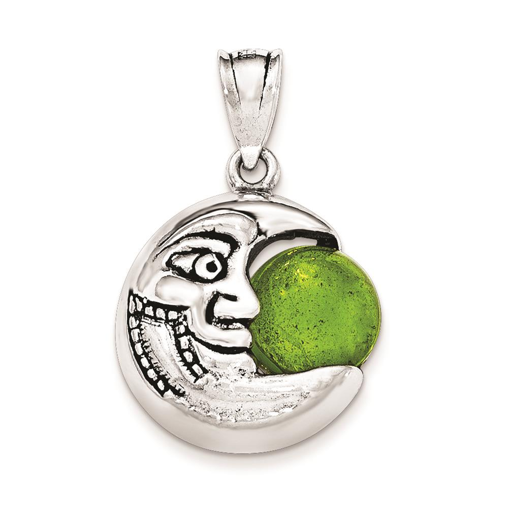 Ladies Silver Antiqued Half Moon with Face & Green Stone Polished Charm Pendant