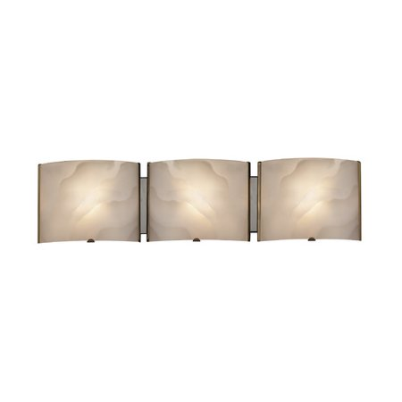 CHLOE Lighting AMPERE Transitional 3 Light Chrome Metallic Bath Vanity Wall Fixture White Frosted Alabaster Glass 25